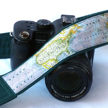 DSLR Camera Strap. World Map Camera Strap. Padded Camera Strap. North America, United States, Gift Photographer. Womens, Mens Camera Strap.