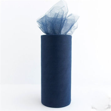 Tulle Spool Fabric Net Roll, 6-inch, 25-yard, Navy Blue