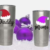 Santa hat decal, Name decal, Stickers for cup, Gift for mom, Dad gift, party cup decal, Vinyl decal, Family gift