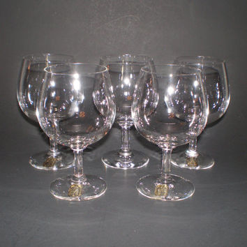 5 Swedish Kosta Glasses with Labels Sweden Bergh Kristall Crystal Stemware Wine Brandy Snifter