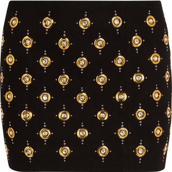 Balmain - Embellished ribbed cotton-blend mini skirt