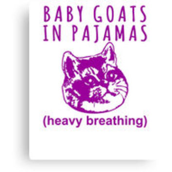 'Heavy Breathing Cat Meme Loves Baby Goats in Pajamas' T-Shirt by electrovista
