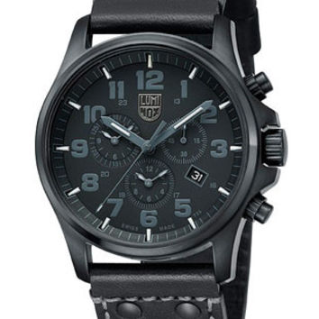 Luminox Atacama Field Chrono Alarm Mens Blackout - PVD Case - Leather Strap
