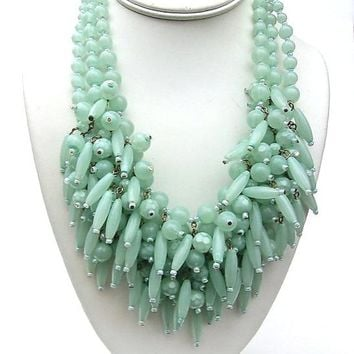 YOSCA Seafoam Art Glass Necklace Festoon Triple Multi Strand Bib Heavy Massive Vintage