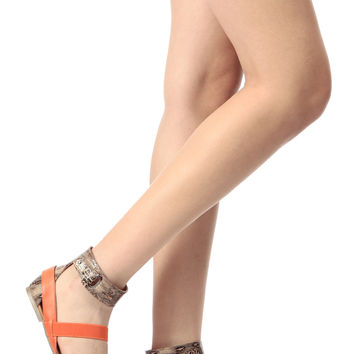 Three Tone Faux Leather Ankle Strap Sandals