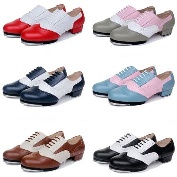 Quality Baroco Style Genuine Leather Vintage Tap Shoes Jazz Flamenco Dancing Shoe Men Women's Clogging Tap Dance Shoes
