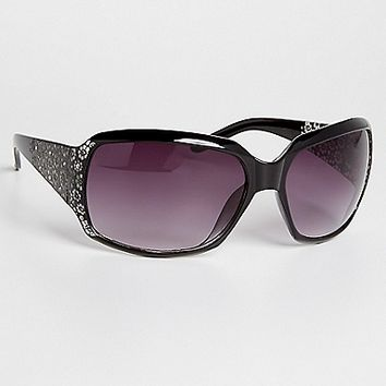 oversized sunglasses with rhinestones and floral etching | maurices