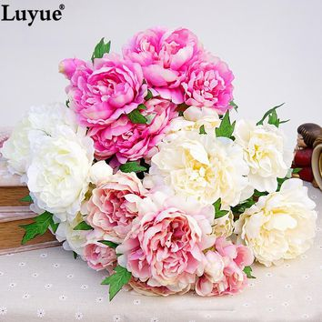 5 heads artificial peony 1 Bouquet high quality silk wedding flowers Home Party Decoration centerpiece flower photo prop