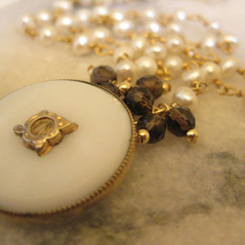Authentic Vintage Gold Filled and Milk Glass Victorian Pendant with Pearls and Smokey Quartz