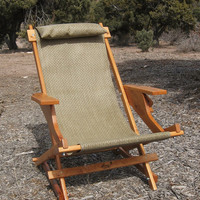 Shoshone Prospector Handcrafted Wood Chair Reclining Outdoor All Weather Camping Folding Sling Deck Patio Beach