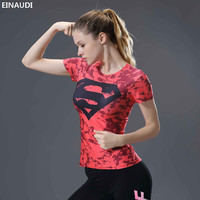 EINAUDI Marvel Summer Women Bodybuilding 3dt Tshirts Slim Fit  Superman Batman Anime 3D Undershirts Quick Dry Women Tight Tee 63