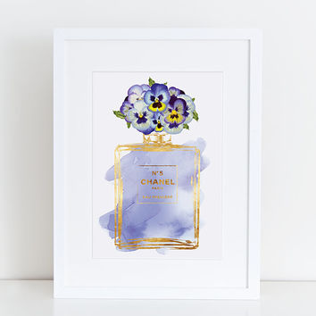 Coco Chanel No5 print 8.5x11 gold effect & Purple pansy flower pansies watercolor  Instant download. Coco Chanel Chanel Chanel Art Printable