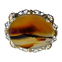 Vintage Banded Agate Pin Brooch Sterling Filigree Frame