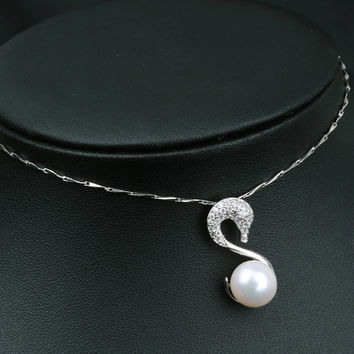 Jewelry Stylish Shiny Gift New Arrival Pearls 925 Silver Pendant Chain Necklace [4914866052]