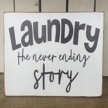 LAUNDRY Rustic Sign / Shabby Chic Home Decor / Vintage Distressed Sign