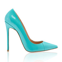 Shoes: 'PARIS' Aqua Patent Leather Pointy Toe Heels 5""