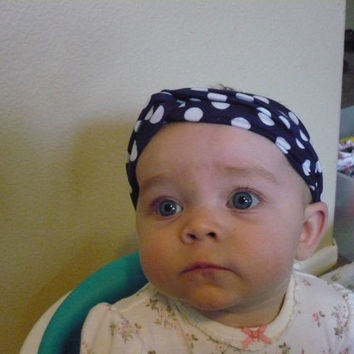 Navy Blue Polka Dot Headband Baby Girl Headband Baby Turban Headband Turband Twisted Headband Baby Headwrap Toddler Kids  Goodtreasures123