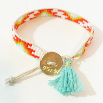 White, Orange, Yellow and Mint Beaded Loom Bead Friendship Bracelet with Signature Gold Plated Button Adjustable with