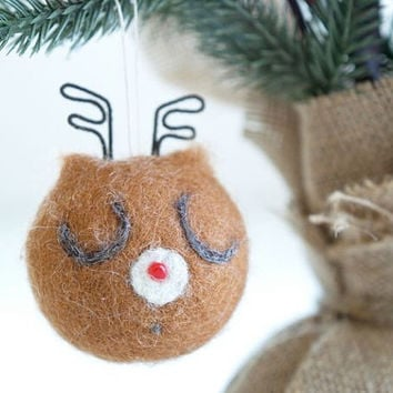 Deer Christmas Ornament, Reindeer, Needle Felted, Woodland Animal, Stag, Snow, Brown, Roudolph The Red Nosed Reindeer, Cute, Antler