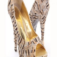 Champagne Printed Feathers Peep Toe Platform Pump Heels @ Amiclubwear Heel Shoes online store sales:Stiletto Heel Shoes,High Heel Pumps,Womens High Heel Shoes,Prom Shoes,Summer Shoes,Spring Shoes,Spool Heel,Womens Dress Shoes,Prom Heels,Prom Pumps,High He