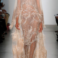 Double Cape Tulle Gown With Sequin And Ostrich Feather Plumes | Moda Operandi