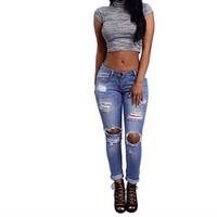 Denim Skinny Ripped Pants High Waist Stretch Jeans Slim Pencil Trousers Hollow Out LZH7