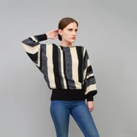 Vintage 70s 80s Striped Mohair Sweater Slouchy Batwing Sleeve Wool Jumper Gray Black Ivory made in Italy Small Medium S M