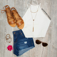 Holland Crop Top in White