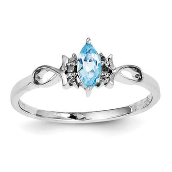 Sterling Silver Rhodium Plated Diamond and Sky Blue Topaz Ring