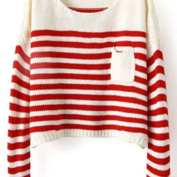 Red Beige Striped Pocket Long Sleeve Cropped Sweater