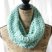 Ocean Blue Light Aqua Cowl Scarf Fall Winter Women's Accessory Infinity