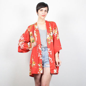 Vintage Short Kimono Jacket Red Floral Print Boho Duster Jacket Japanese Kimono Draped Asian Robe Jacket Hippie Duster M Medium L Large XL