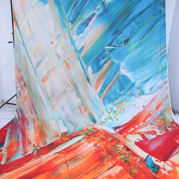 Teal and Orange Paint Strokes Artwork Backdrop - White Strip On Right Side - 10x20 - LCTC04TCSL132 - LAST CALL