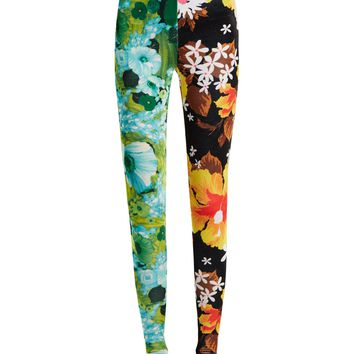 Contrasting floral-print high-rise velvet leggings | Richard Quinn | MATCHESFASHION.COM UK