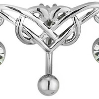 14g Surgical Steel Reverse Mount Sexy Tribal CZ Jeweled Belly Button Ring
