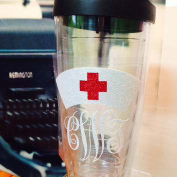 Vintage Nurse Hat with Monogram 24 oz Tumbler