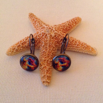Celestial glass dome earrings with leverbacks, astronomy, stars, celestial lovers, 12 mm glass domes, gifts for her