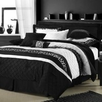 Chic Home Cheetah 8-Piece Oversized and Overfilled Comforter Set, Black, Queen