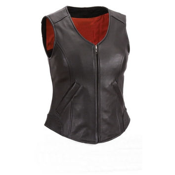 Women Ladies Black Gun Club Leather Vest