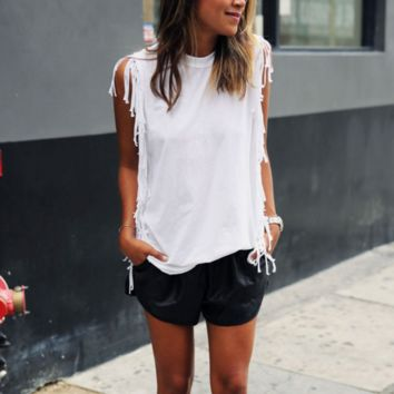 Tassel Fashion Scoop Neck Shirt Top Tee
