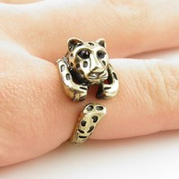 Gold Leopard Wrap Ring - SIZE 7
