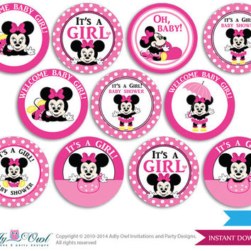 Girl Minnie Mouse Cupcake Toppers for Baby Shower Printable DIY, favor tags, circles, It's a Girl, Polka - ONLY digital file - oz9bs0
