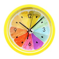 ZLYC Modern Fashion Non Ticking Ultra Silent 12 Inch Fruit Lemon Round Analog Quartz Wall Clock Home Deco (outside yellow)