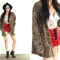 Vintage 90s CHEETAH Faux Fur Leopard Brown Tan Print Jacket Coat // Hipster Grunge Bohemian // XS Extra Small / Small / Medium / Large