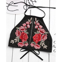 Crop Tops Women   New Embroidery Flower Womans Short Halter Neck Bandage Low Cut Tanks Top Women #23 SM6