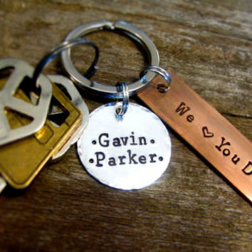 Dad Father We Love You Dad Copper Key Chain Set With Custom Hand Stamped Child Name Aluminum Medallion Great Gift Idea for Dad