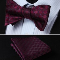BC1017U Burgundy Blue Check 100%Silk Jacquard Woven Men Butterfly Self Bow Tie BowTie Pocket Square Handkerchief Hanky Suit Set