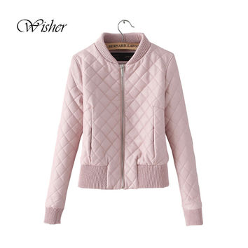 2016 New Spring Jacket Women Bomber Jacket Coat Short Slim Pink Jacket Coat Chaquetas Mujer Veste Militaire Femme Women Jackets