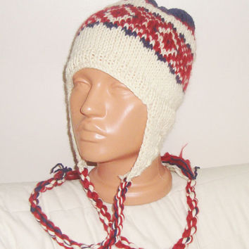 Earflap beanie, merino wool knitted man hat, red navy blue cream
