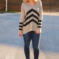 Following The Sun Sweater: Tan/Black